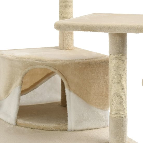 vidaXL Kattenkrabpaal met sisal krabpalen 203 cm beige en wit
