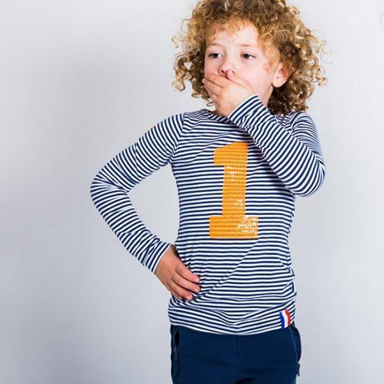Streep longsleeve blauw/wit oranje pailetten meisje