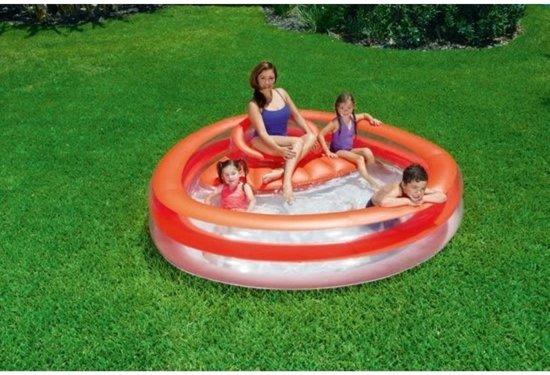 Zwembad met ziteiland 232x229x63cm - familie - rood - uitneembare stoel
