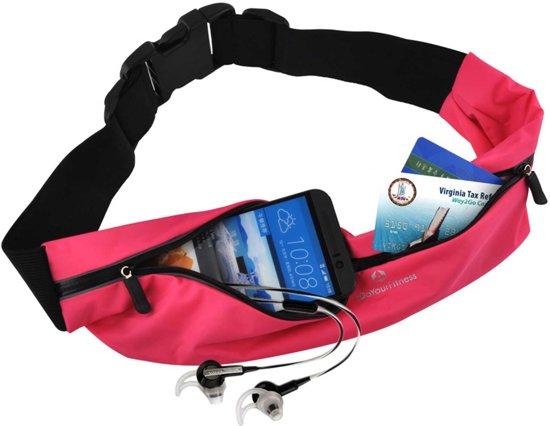 #DoYourFitness - Loopriem - »FunRunner« - heuptas / ritszak voor hardlopen ,elastisch, waterdicht - mobiele telefoon tot ca. 5,5 inch - pink