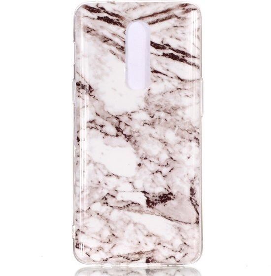 Mobigear Marmer Softcase Hoesje Wit OnePlus 6