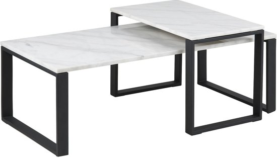 Wit Marmeren Salontafel.24designs Salontafel Serenity Tafelblad Wit Marmer Zwart Onderstel