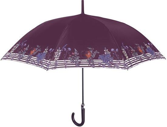 Perletti Paraplu Bloemen En Strepen Automatisch 102 Cm Paars