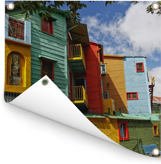 Beroemde huizen in de wijk La Boca in Buenos Aires Tuinposter 200x200 cm - Tuindoek / Buitencanvas / Schilderijen voor buiten (tuin decoratie) XXL / Groot formaat!