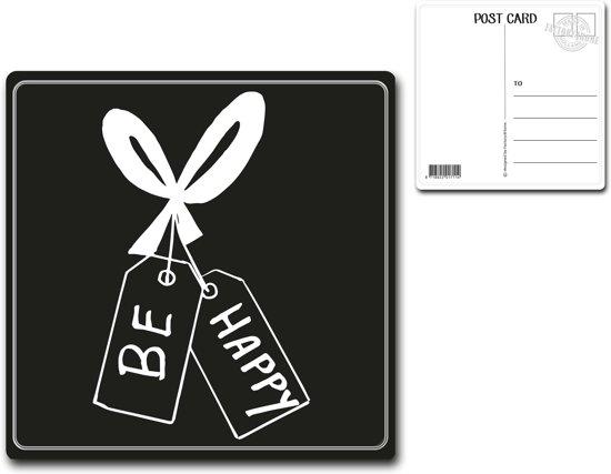 Metalen kaart 15x15cm Be happy - 107119122016