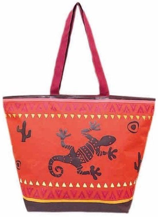 Damestas strandtas Gekko met zomer/reptielen print rood/bruin 58 cm - Dames handtassen - Shopper - Boodschappentassen