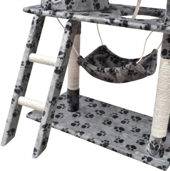 vidaXL Kattenkrabpaal 140 cm 1 huisje grijs met potenprint