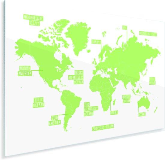 Knalgroene eenvoudige wereldkaart Plexiglas 120x80 cm - Foto print op Glas (Plexiglas wanddecoratie)