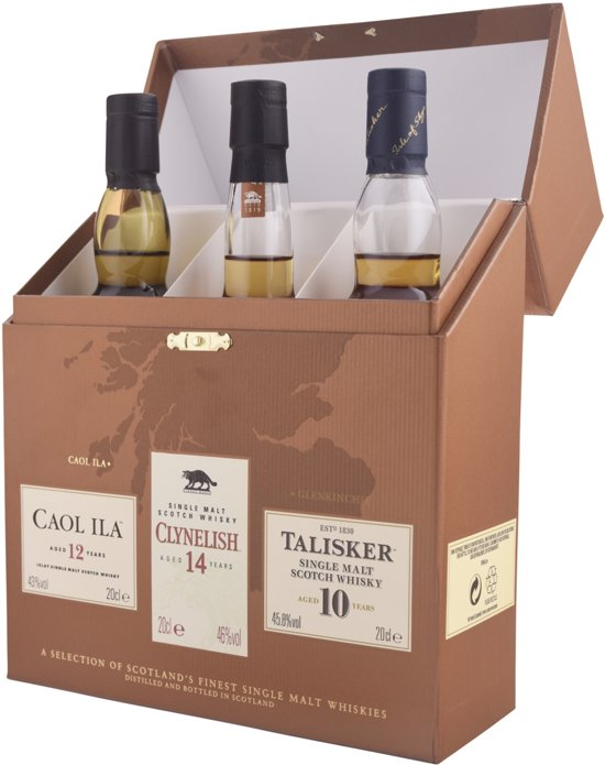 Schotse Whisky Giftset Coastal Single Malt Whisky - 3 x 20 cl Valentinaa