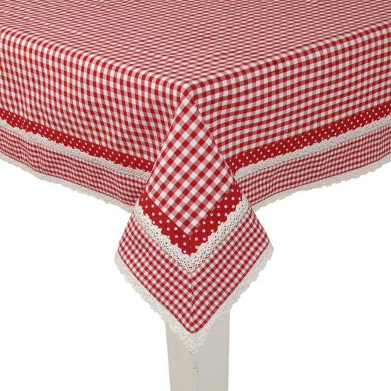 Clayre & Eef Tafelkleed - Katoen - 130 x 180 cm - Rood/wit - Geblokt