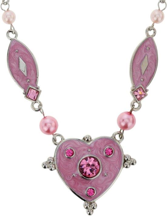 Ketting zilver-kleur met roze hart