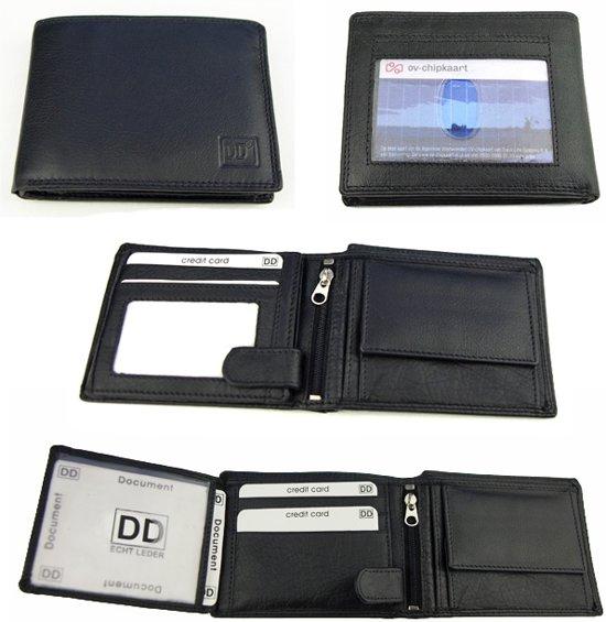 Zwarte Portemonnee - RFID - Uitsparing voor OV kaart - Leer - 10 Pasjes