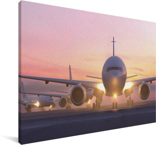 Mooie zonnestralen langs het vliegtuig Canvas 90x60 cm - Foto print op Canvas schilderij (Wanddecoratie woonkamer / slaapkamer)