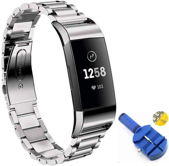 Metalen Armband Voor Fitbit Charge 3 Horloge Band Strap - Schakel Polsband Strap RVS - Zilver KLeurig