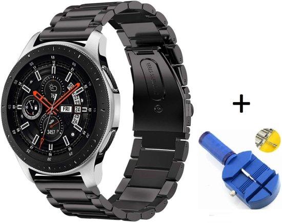 Metalen Armband Voor Samsung Galaxy Watch 46 MM Horloge Band Strap - Schakel Polsband Strap RVS - Zwart