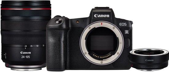 Canon EOS R + RF 24-105mm f/4L IS USM + EF-EOS R Mount Adapter - Zwart