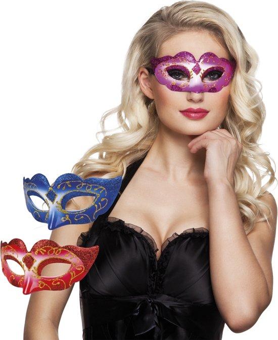 18 stuks: Masker Venetie - glitter promo in 3 kleuren - assorti