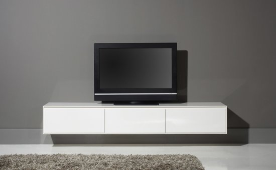 Goossens tv meubel vision 226x35x45 cm for Tv dressoir hoogglans wit