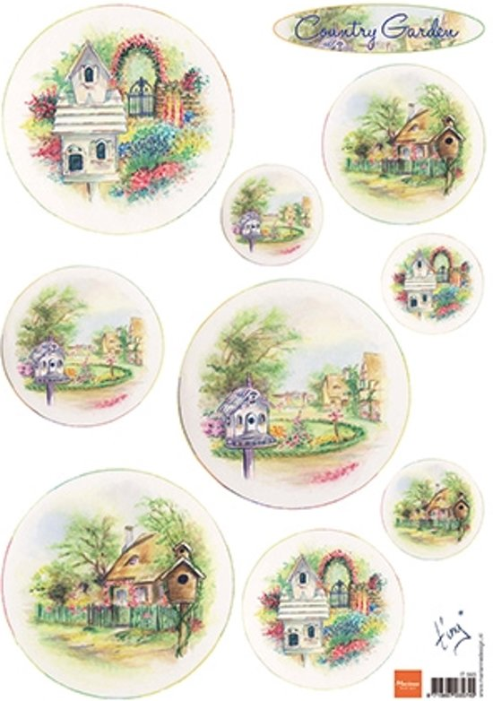 Hobby wenskaartenpakket - Marianne Design decoupage x1 Tiny's country garden 2 - 10 stuk