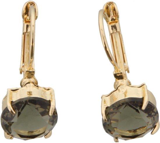 Gouden metalen oorbellen met een grijze kristallen steen erin.