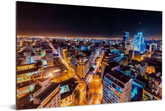 Het centrum van het Argentijnse Buenos Aires 's nachts Aluminium 30x20 cm - klein - Foto print op Aluminium (metaal wanddecoratie)