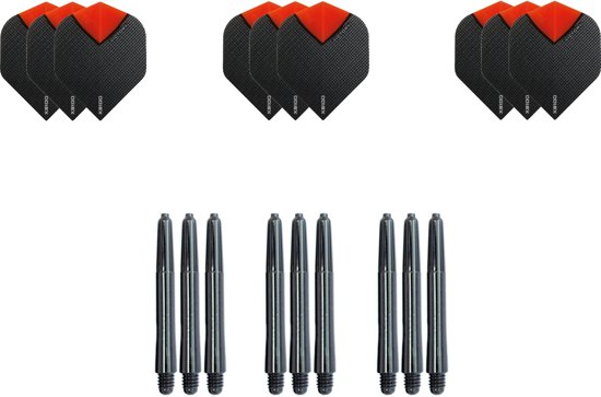 Dragon darts - Dartset - 3 sets dart flights en 3 sets nylon darts shafts - 18 pcs - Oranje - darts flights