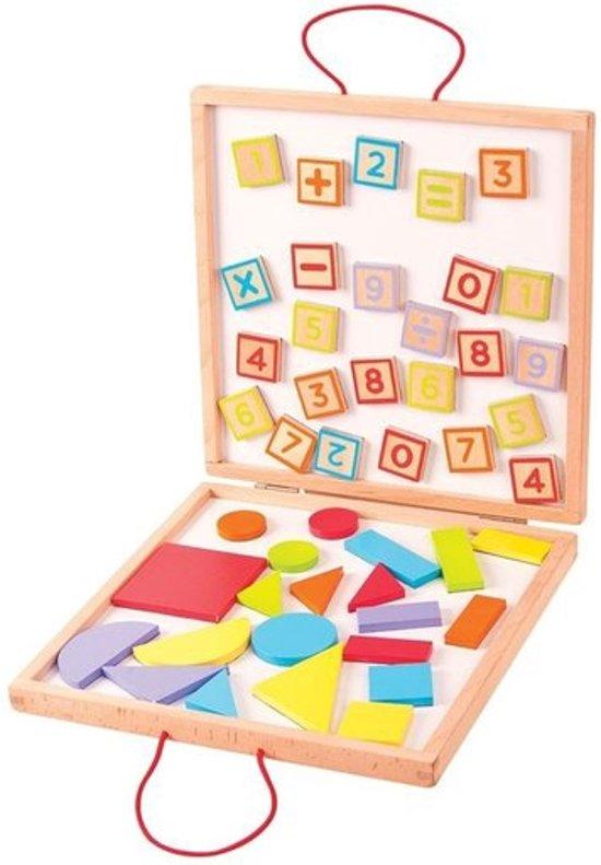 Houten Magnetische Nummers en Figuren in een Opbergbox