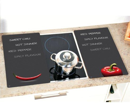 SET van 2 STUKS Multi glazen Snijplanken, gesatineerd glas | Multiglas Snijplanken set | Snijplank keukenblad | Snijplank van veiligheidsglas | 2 Kookplaat afdekplaten | Afmetingen: 52 x 30 x 0,8 Cm. | Kleur: SWEET CHILLI / RED PEPPER (2 Stuks)