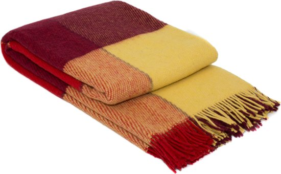 MOST wollen plaid York - Rood/Geel - 70% wol