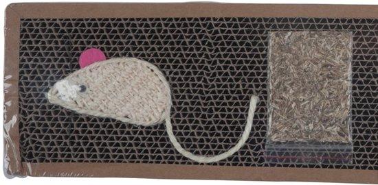 Krabmat 38 cm voor katten - incl. speelgoedmuis en zakje kattenkruid.