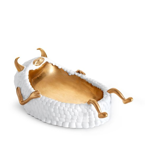 L'OBJET - Haas Lazy Susan Catchall Tray White + Gold