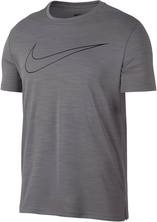 Nike Superset Top GFX Heren  Sportshirt - Maat L  - Mannen - grijs/zwart