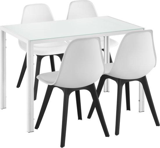 Eetkamer Set 4 Stoelen.Eetkamerset Delft Glazen Eettafel Met 4 Stoelen Wit En Wit Zwart