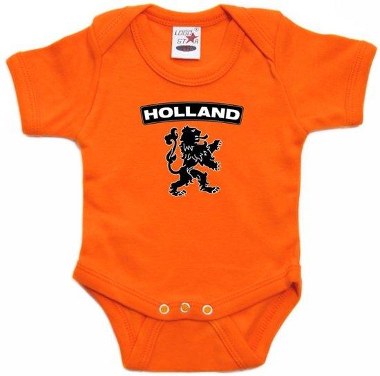 Babykleding 80.Bol Com Oranje Rompertje Holland Met Zwarte Leeuw Baby Oranje