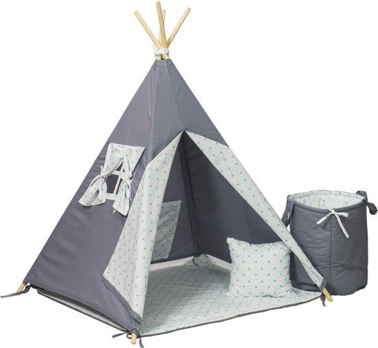 Wigwam tipi tent - 5 delig - 100% katoen - turquoise sterren