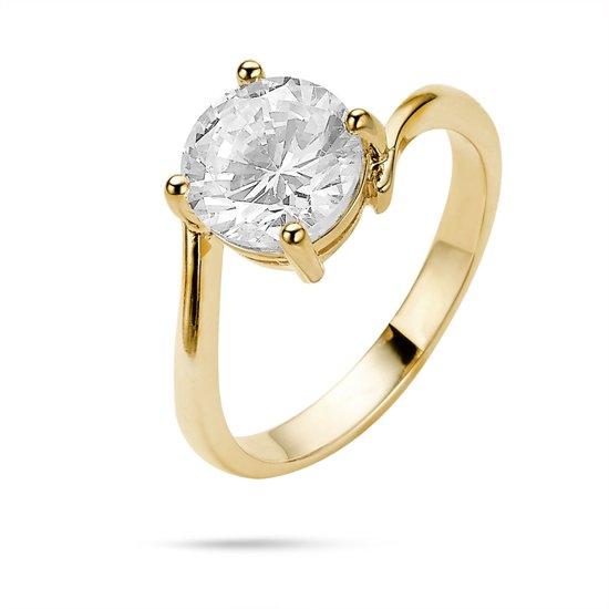 Twice As Nice Ring in 18kt verguld zilver, solitaire, 1 zirkonia van 8 mm  48