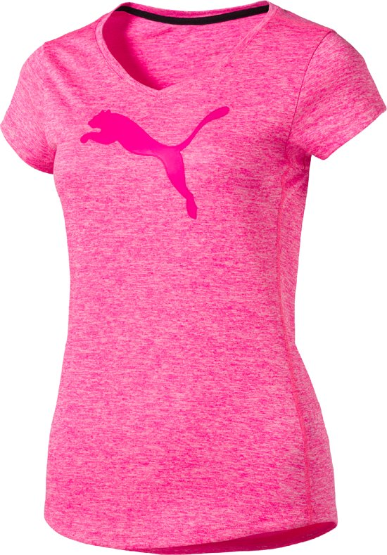 Puma Heather Cat Tee - Sportshirt - Dames - Knockout Pink Heather - Maat S