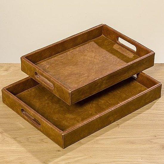 Dienblad - 2 set - Bruin - Decoratie blad - 35 cm - 40 cm - Leer