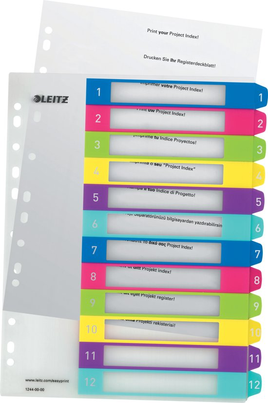 Leitz WOW printbare index - tabs 1-12
