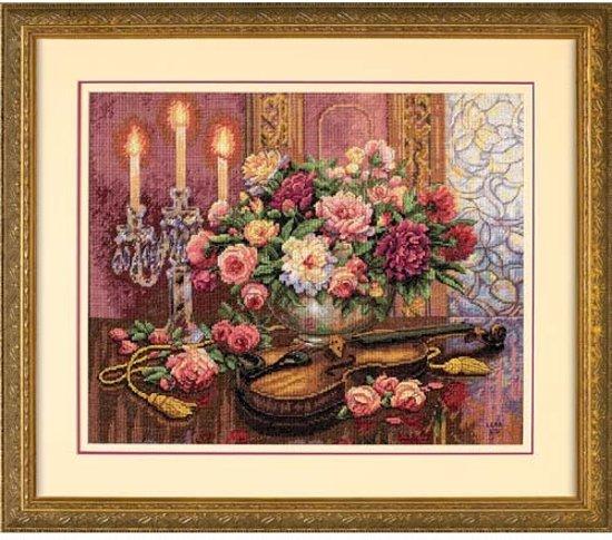 borduurpakket 35185 stilleven, viool met bloemen
