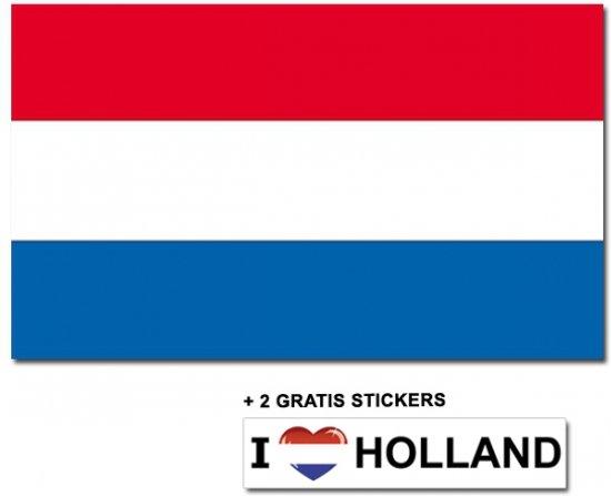 Nederlandse vlag met 2 gratis Nederland stickers