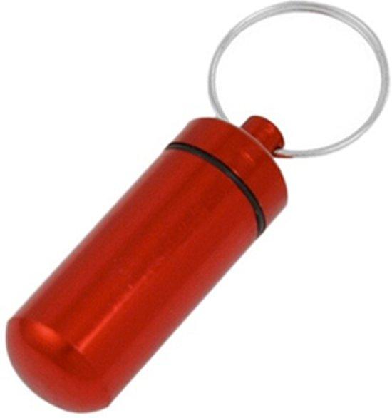 Koker/container sleutelhanger voor pillen en andere medicijnen - rood - aluminium