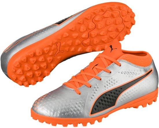 PUMA ONE 4 Syn TT Jr Voetbalschoenen Kinderen - Puma Silver-Shocking Orange- Puma 9e2d0e7b0