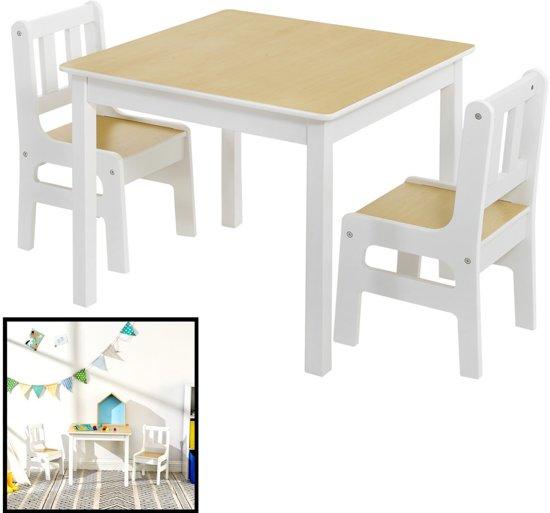 Tafel Met 2 Stoelen Kinderen.Kindertafel Met Stoeltjes Van Hout 1 Tafel En 2 Stoelen Voor Kinderen Wit Met Hout Kleurtafel Speeltafel Knutseltafel Tekentafel