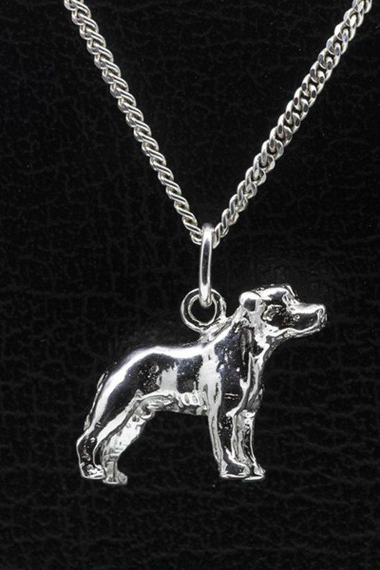 Zilveren Staffordshire bull terrier oren ongecoupeerd ketting hanger - groot
