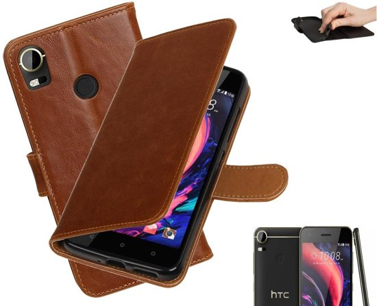 MP Case bruin vintage look hoesje voor HTC Desire 10 pro book case in Soumoy