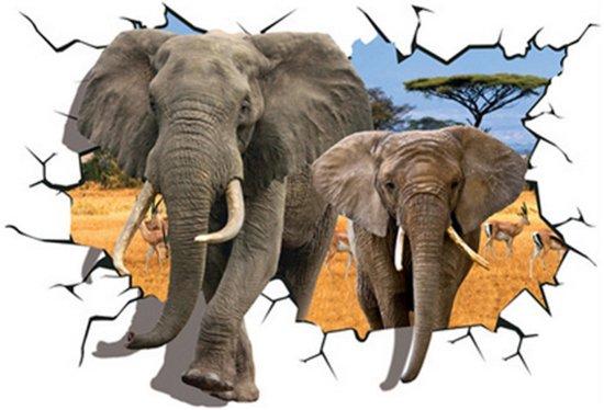 Bol.com 3d muursticker olifant topper voor de kinderkamer