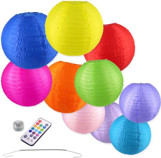 Nylon Lampionnen - 10 stuks - 25 en 35cm - Incl. LED met afstandbediening - Incl. ophanghaakjes Valentinaa