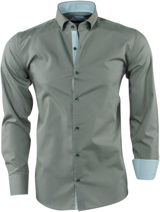 Heren Gestreepte Fit Kraag Slim Army Overhemd Pradz dCxWerBo