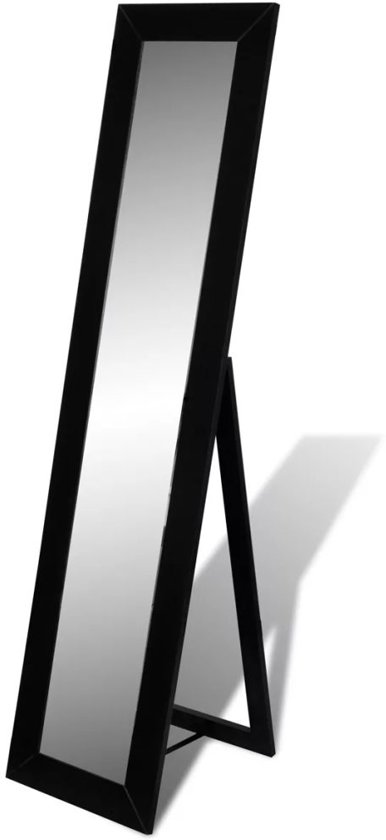 vidaXL - Staande spiegel Vrijstaande spiegel volledige lengte (zwart)